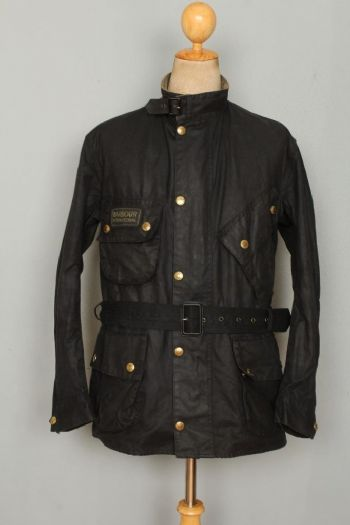 BARBOUR International WAXED Jacket Belted Black Size 42 Large